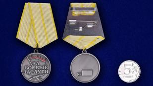 """Медаль """"За боевые заслуги Новороссии""""  - сравнительный размер"""