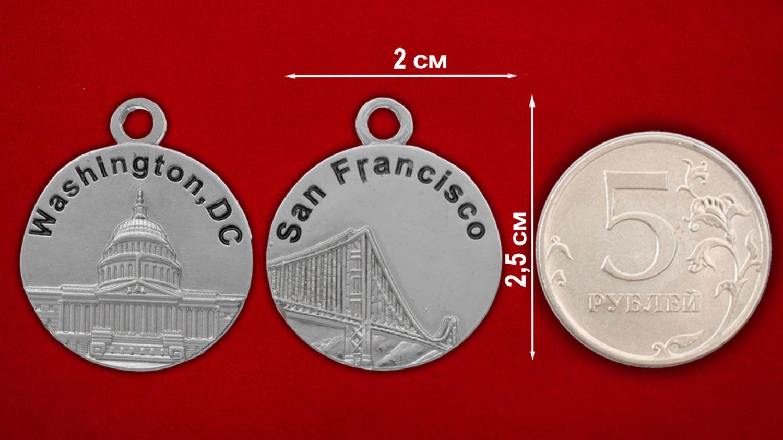 """Медальон """"Вашингтон - Сан-Франциско"""" - сравнительный размер"""