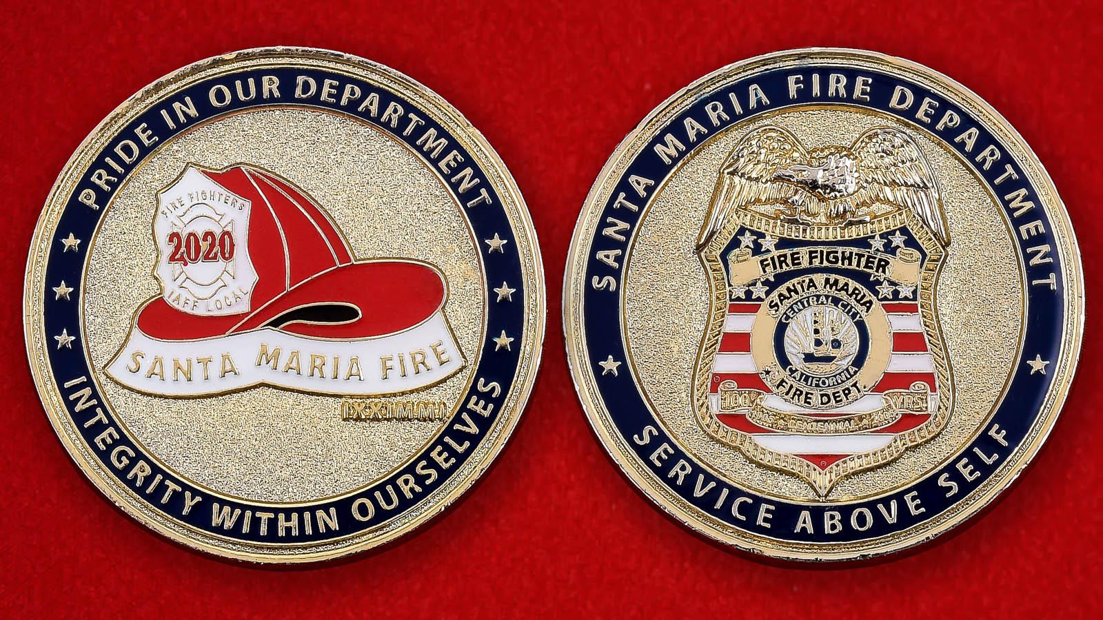 "Наградная монета США ""Пожарная охрана Санта-Марии, Калифория"""