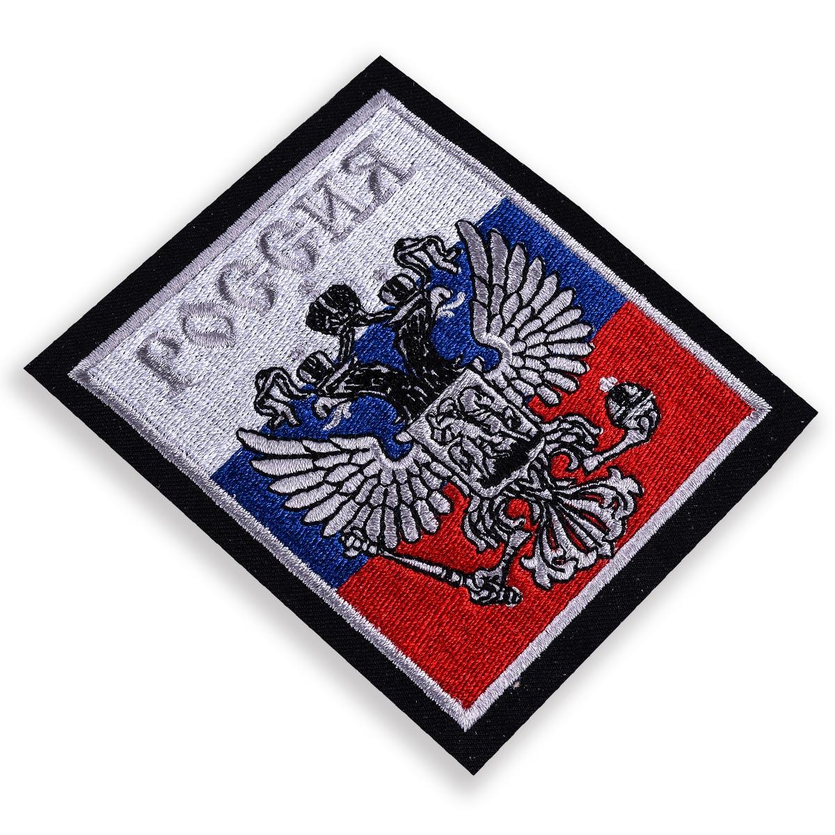 """Нашивка """"Российский герб"""" серебро"""