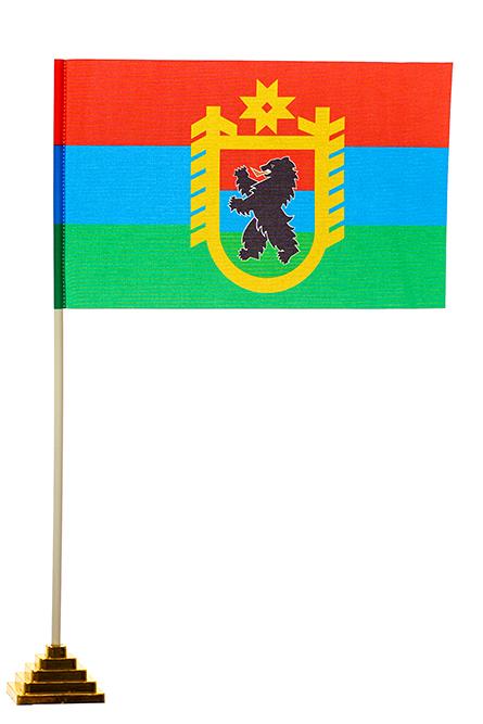 Настольный флаг Карелии с гербом