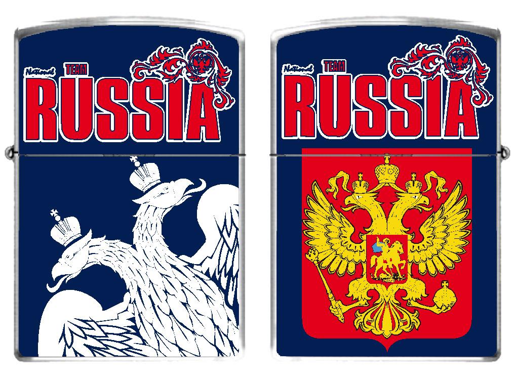 Зажигалка бензиновая RUSSIA «Двуглавый орёл»