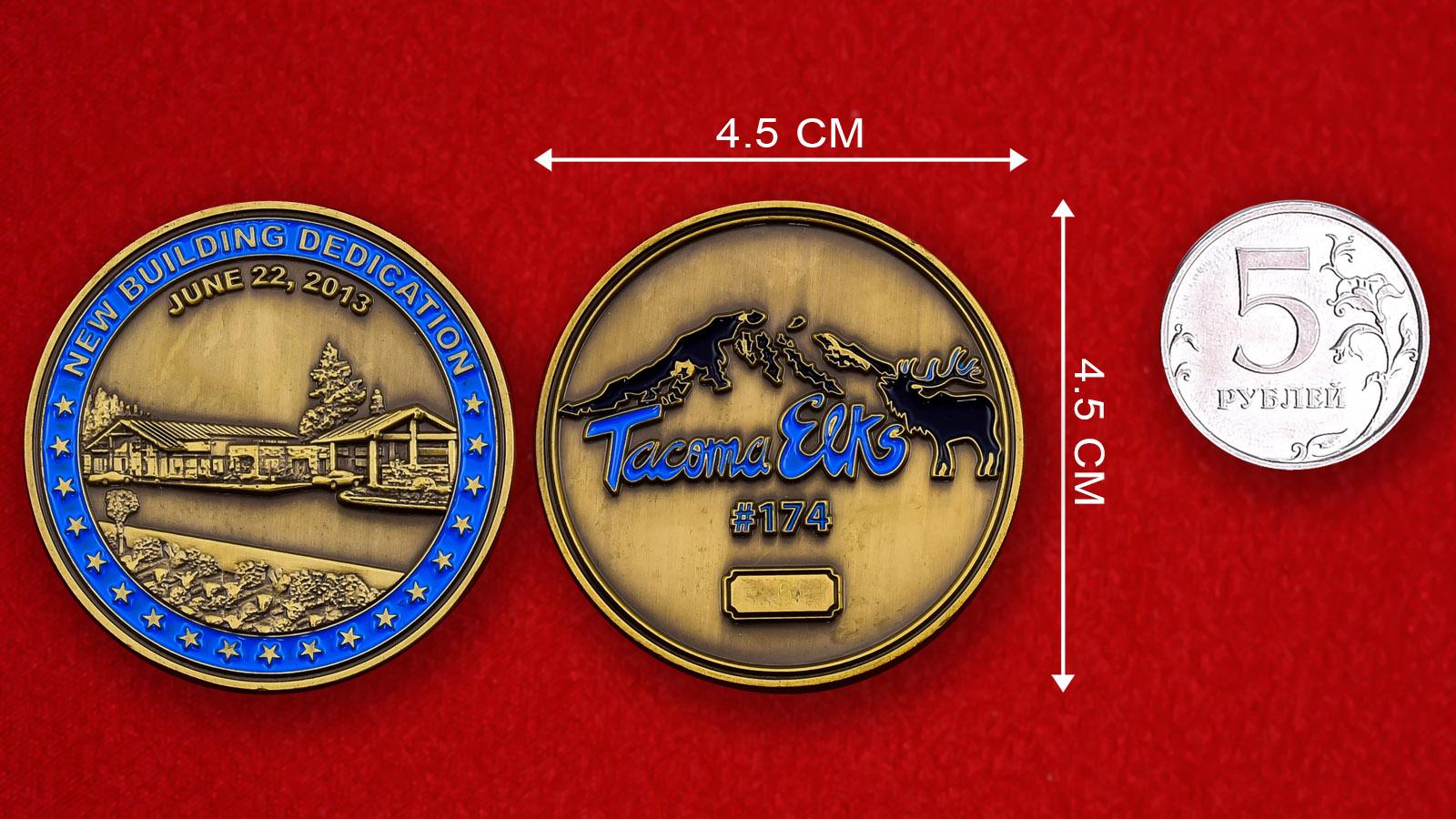 Памятная монета к открытию нового здания клуба Tacoma Elks # 174