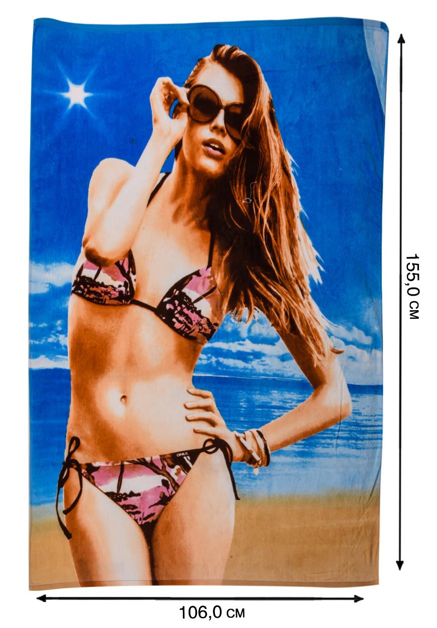 Пляжное полотенце с девушкой - высокого качества