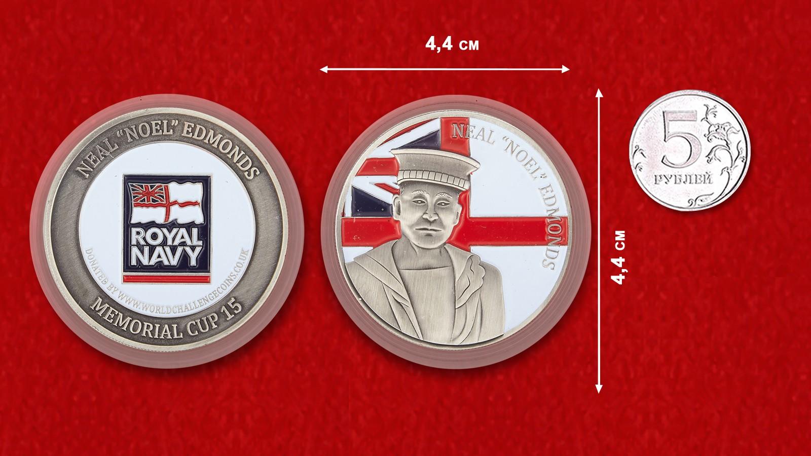 "Royal Navy Sailor Neal ""Noel"" Edmonds Memorial Challenge Coin - linear size"
