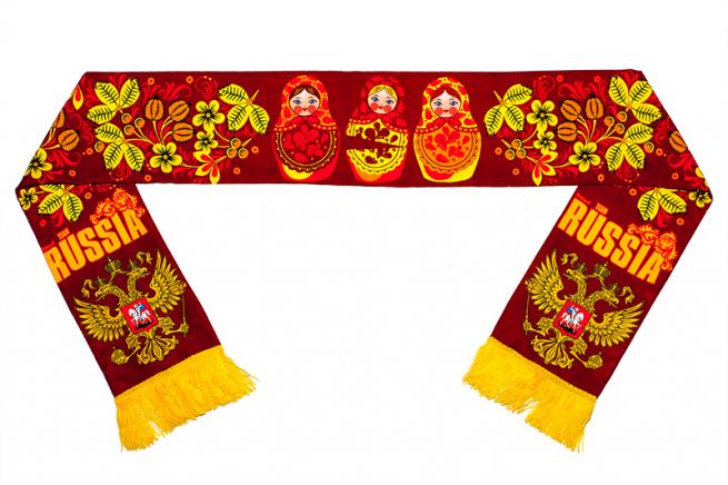 Шелковый шарф с русскими узорами