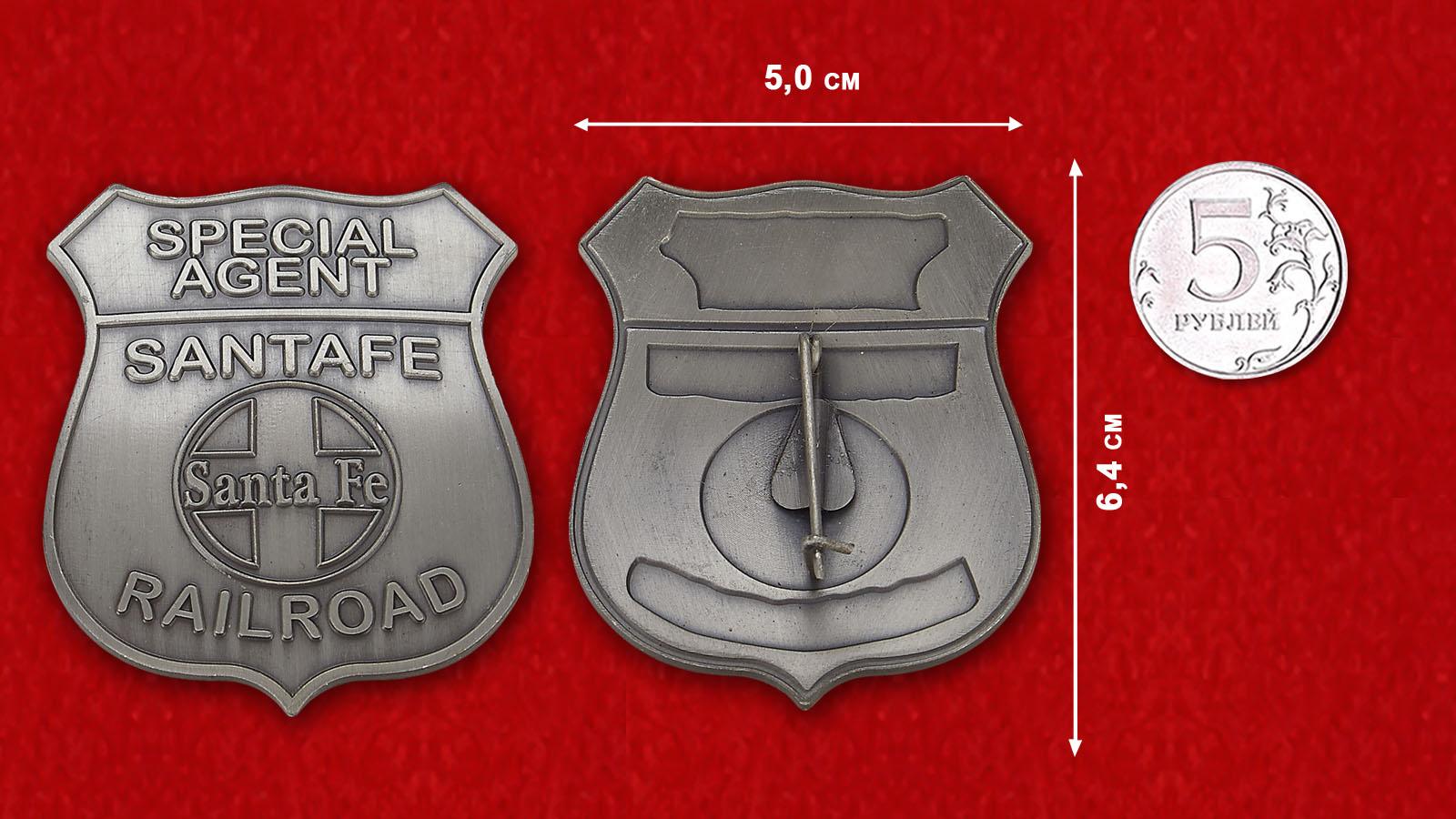 Special Agent Raulroad Sata Fe Token - comparative size