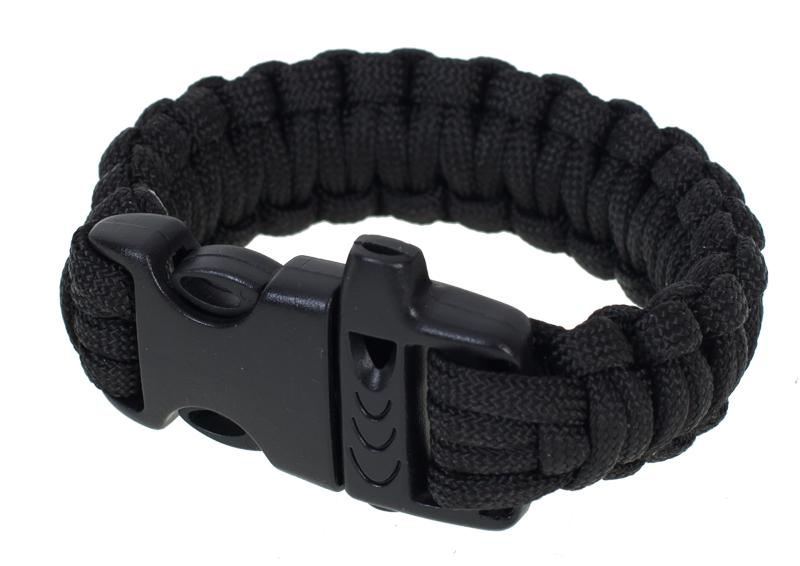 Тактический браслет из паракорда черный-общий вид