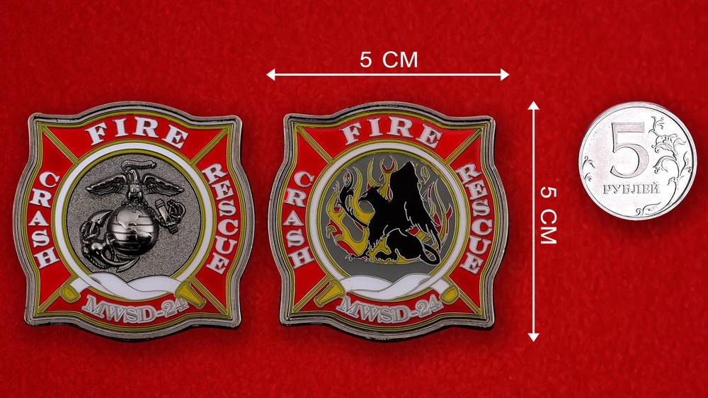 US Marine Corps MWSD-24 Challenge Coin - linear size