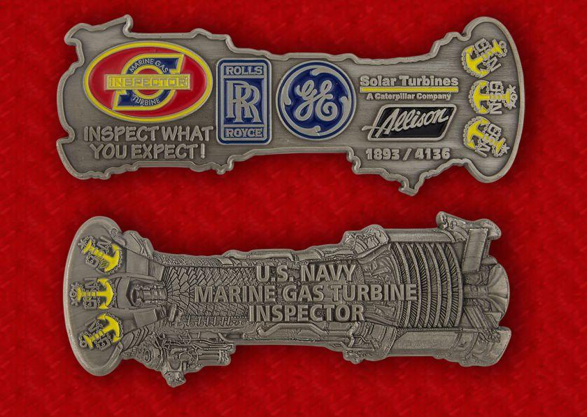 U.S. Navy Marine Gas Turbine Inspector Challenge Coin - obverse and reverse