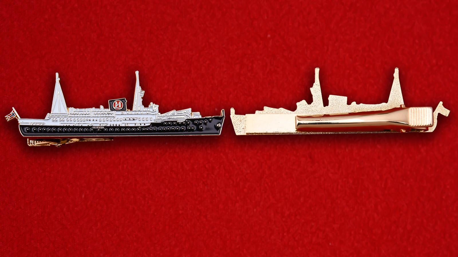 """Зажим для галстука """"Лайнер Lofoten круизной компании Hurtigruten. Норвегия"""""""
