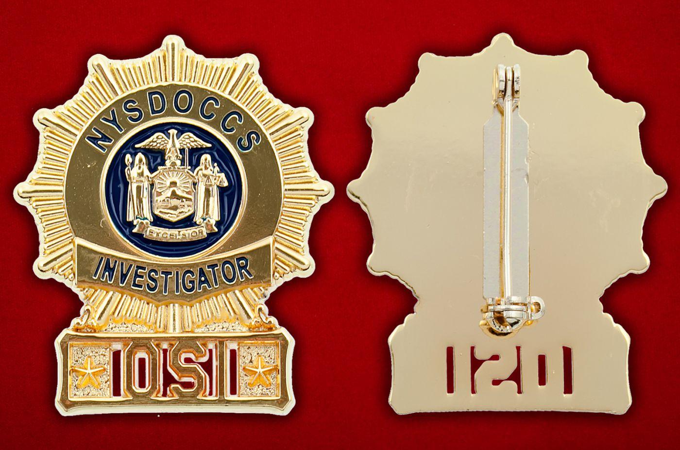 Значок Департамента исправительных учреждений штата Нью-Йорк - аверс и реверс