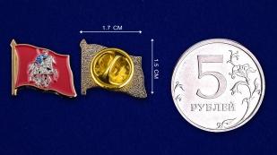 """Значок """"Флаг Москвы"""" - сравнительный размер"""