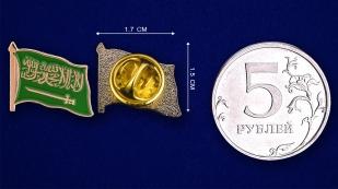 """Значок """"Флаг Саудовской Аравии"""" - сравнительный размер"""