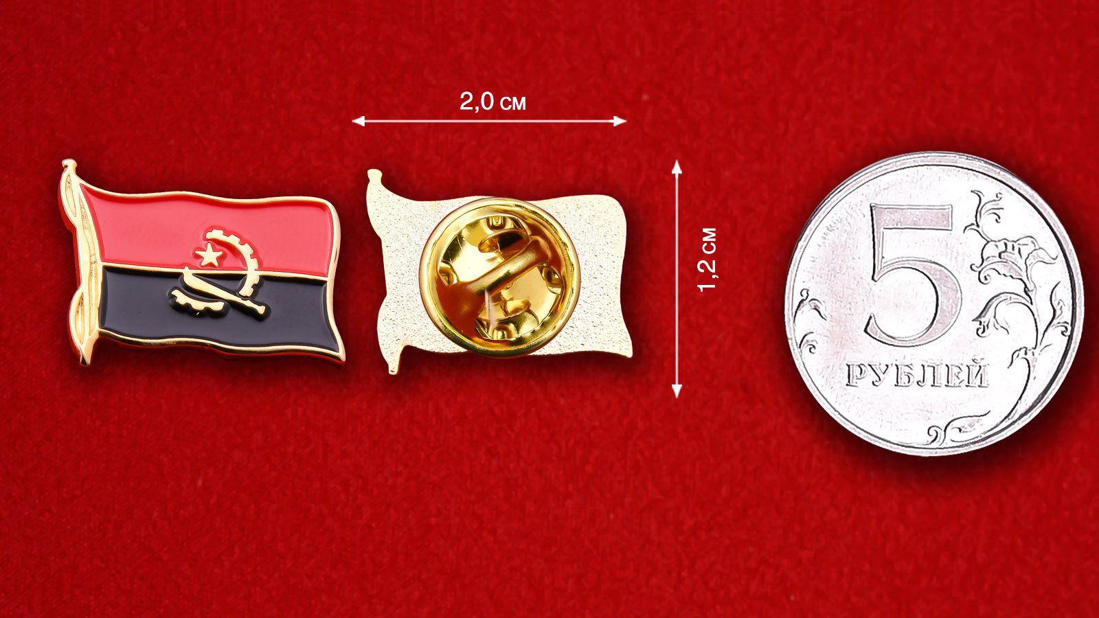 Значок Флага Анголы - сравнительный размер