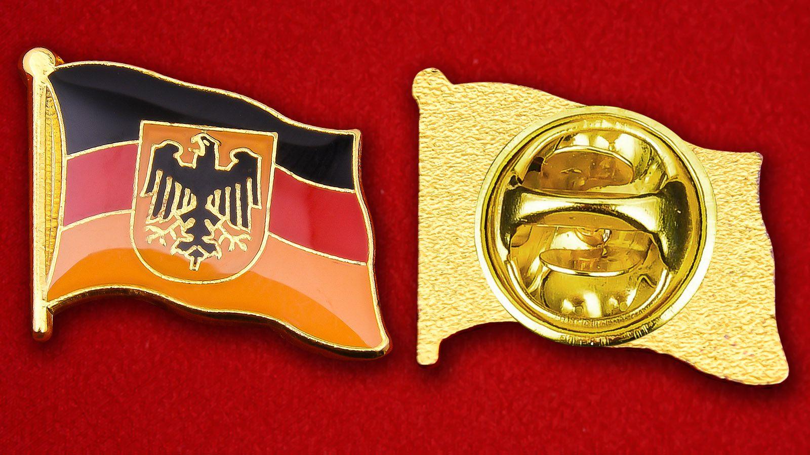 Значок Флага Германии с гербом - аверс и реверс