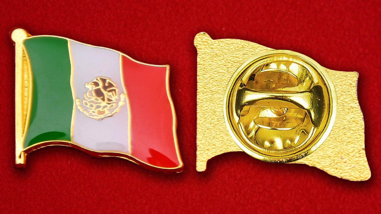 Значок Флага Мексики - аверс и реверс