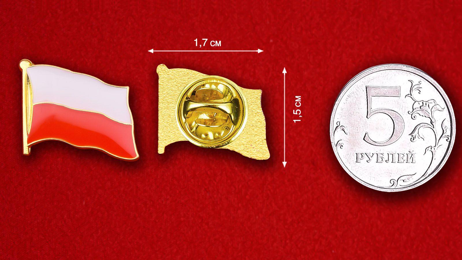 Значок Флага Польши - сравнительный размер