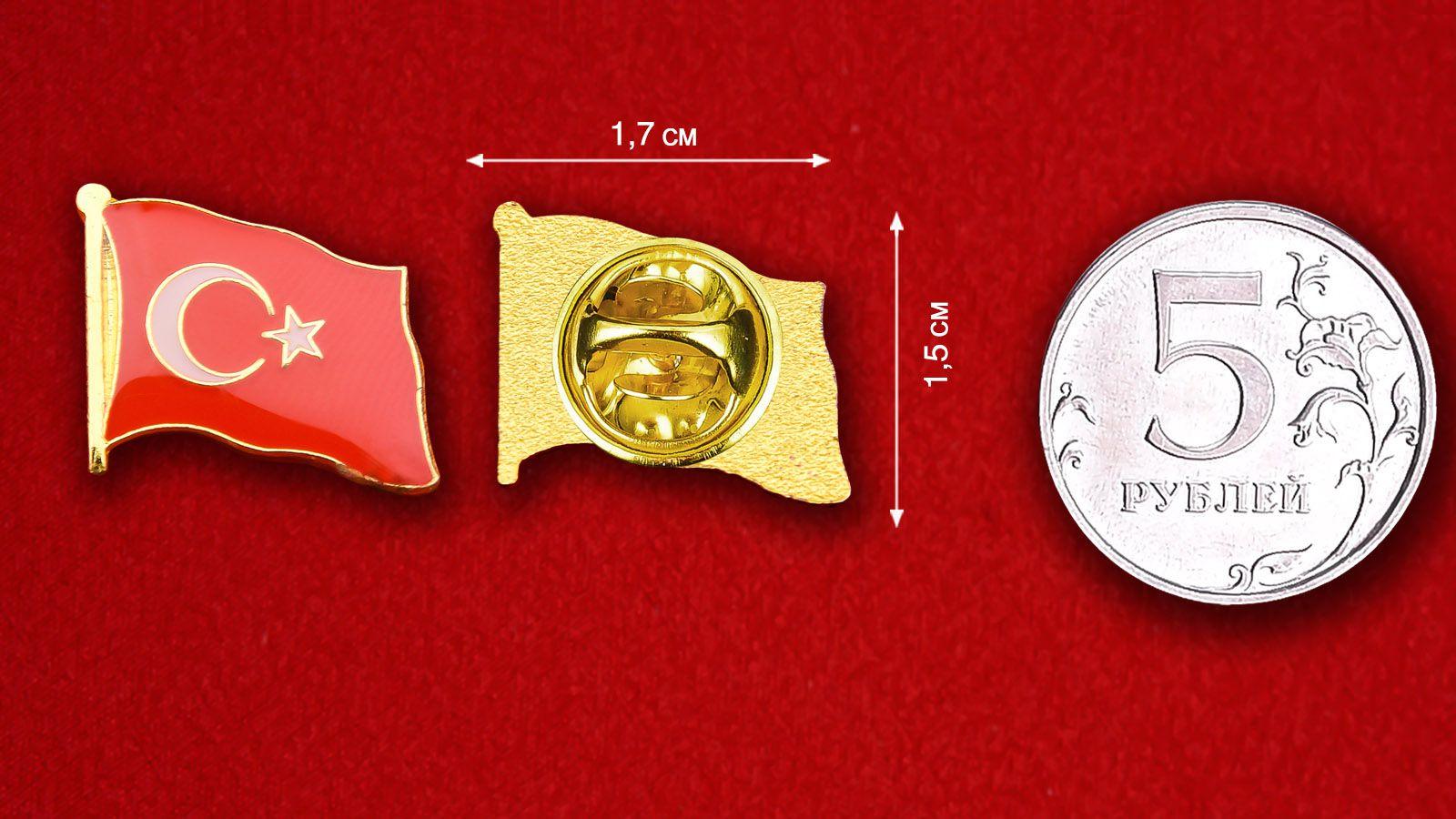 Значок Флага Турции - сравнительный размер