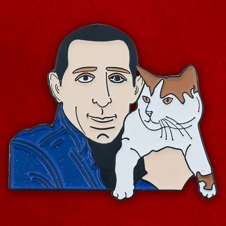 "Значок ""Мужчина с котом"""