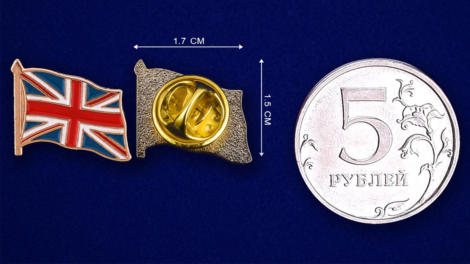 Значок Великобритания - сравнительный размер