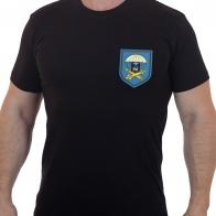 Черная мужская футболка с вышитым знаком Зенитный ракетный полк 76 ДШД - купить оптом