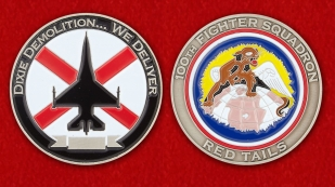 "100th Fignter Squadron ""Red Tayls"" Challenge Coin - obverse and reverse"