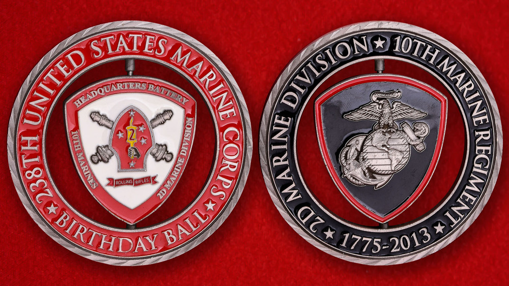 10th Marine Regiment 2nd Marine Division USMC Birthday Ball Challenge Coin - both sides.