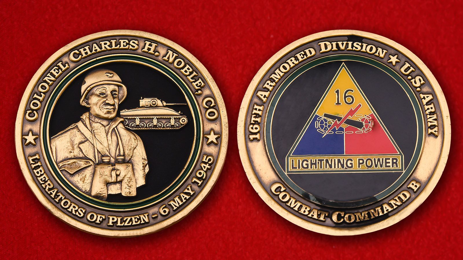 16th Armored Division U.S. Army Challenge Coin - obverse and reverse