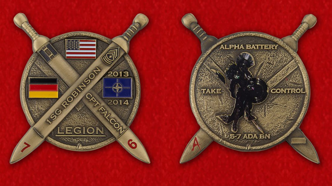 1SG Robinson, CPT Falcon 5-7 ADA BN Challenge Coin - obverse and reverse