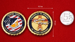 49th Wing Challenge Coin - comparative size