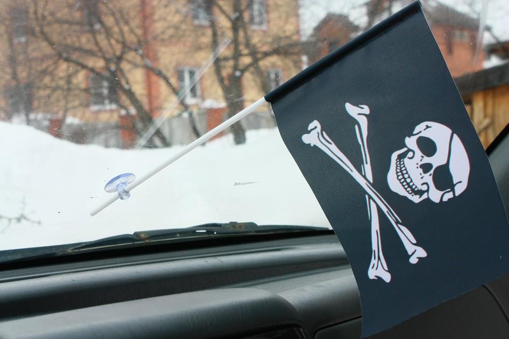 Флажок в машину Пиратский с повязкой