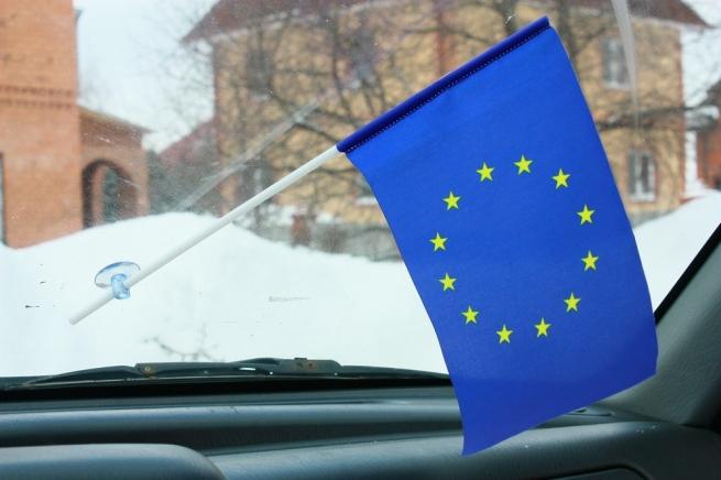 Флажок в машину с присоской Евросоюз