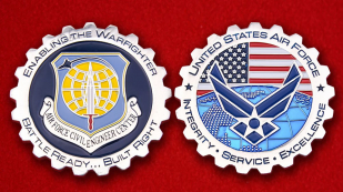 AIR Force Civil Engineer Center Challenge Coin - obverse and reverse