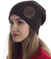 Аккуратная женская шапочка со стразами. Удобная и модная модель, носи куда угодно!
