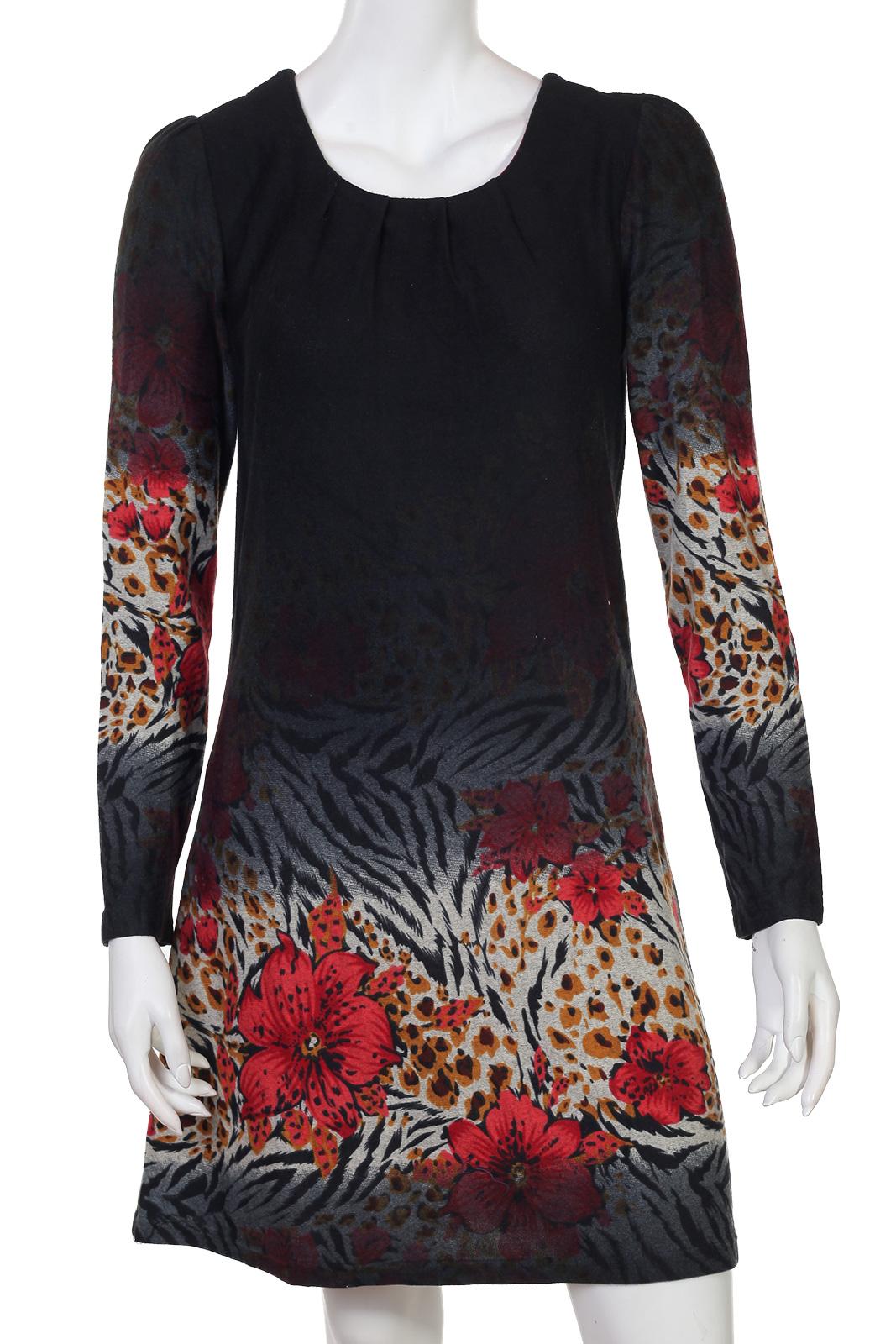 Аккуратное черное платье с интригующим принтом
