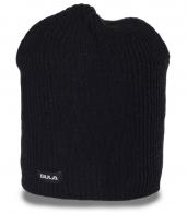Актуальная брендовая мужская шапка бини ребристой вязки