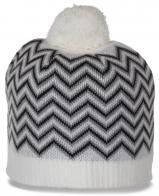 Актуальная ультрамодная женская шапка с бубоном для молоденьких модниц с зигзагообразным узором