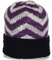 Актуальная зимняя женская шапка с отворотом на флисе молодежная спортивная модель