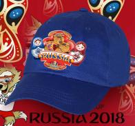 Актуальнейший сувенир из России! Синяя хлопковая кепка Russia «Мишка с балалайкой и Матрешки» всегда модный и патриотичный аксессуар на долгие годы