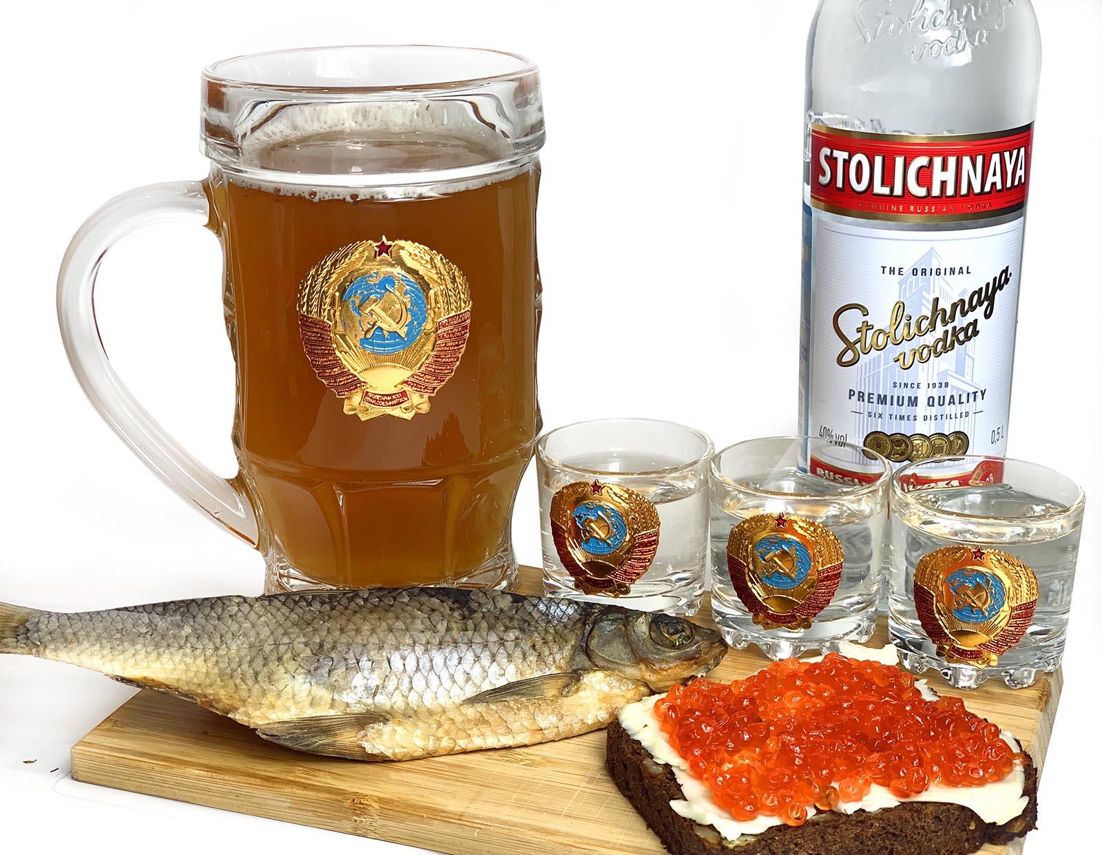 Купить в интернет магазине подарочный алкогольный набор с гербом СССР