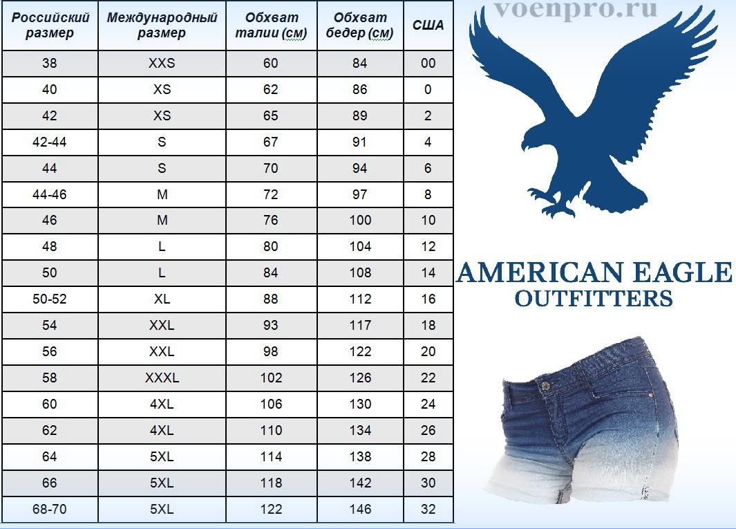 Джинсовые шорты от American Eagle должны быть у каждой модницы - размерная сетка