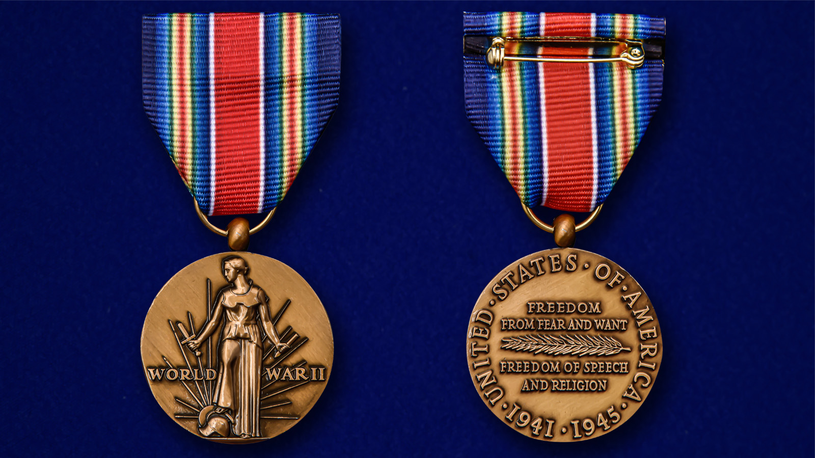 Американская латунная медаль За победу во II Мировой войне - аверс и реверс