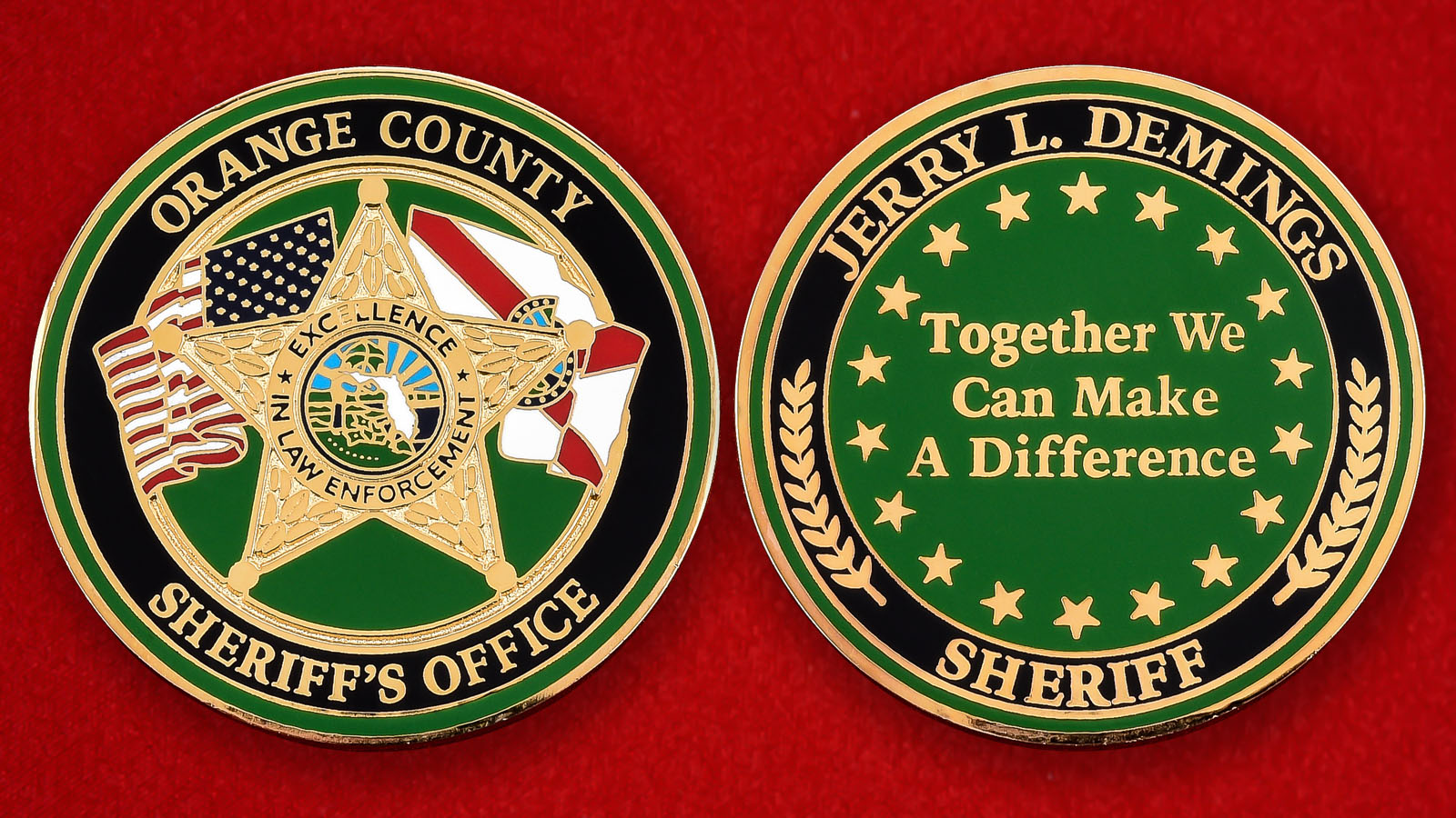 "Американская монета ""Шериф Джерри Л. Деминг, округ Ориндж, Калифорния"""