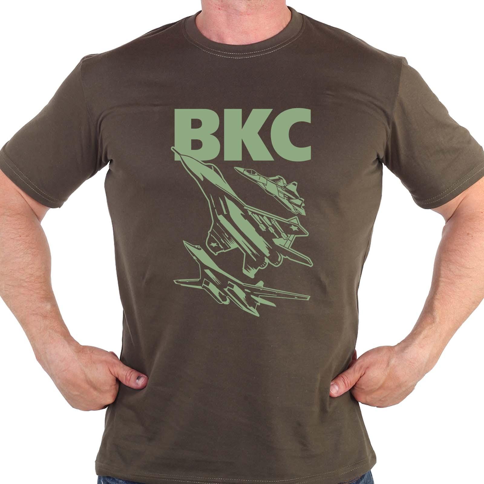 Мужская армейская футболка с принтом ВКС