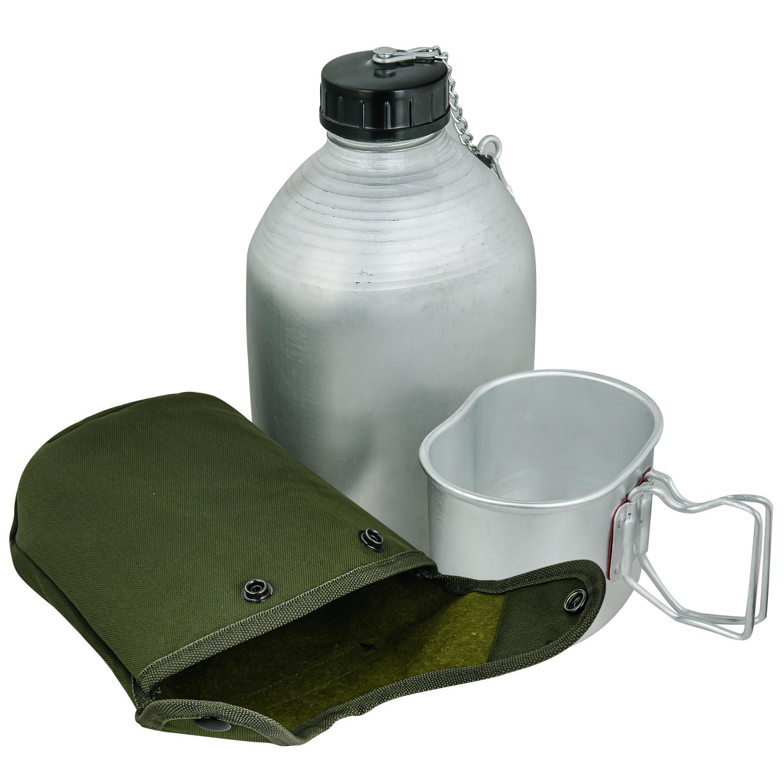 Армейская алюминиевая фляга 1.3 л. с кружкой-котелком в чехле