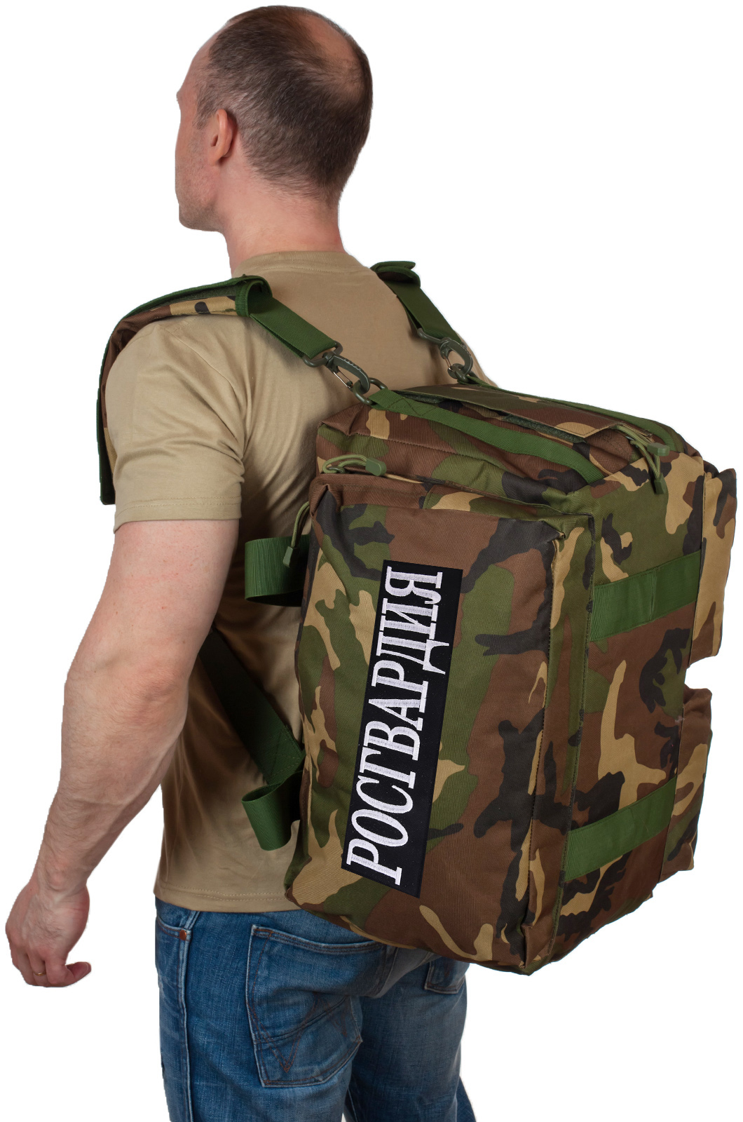 Купить армейскую дорожную сумку (камуфляж Woodland) с нашивкой Росгвардия с доставкой онлайн
