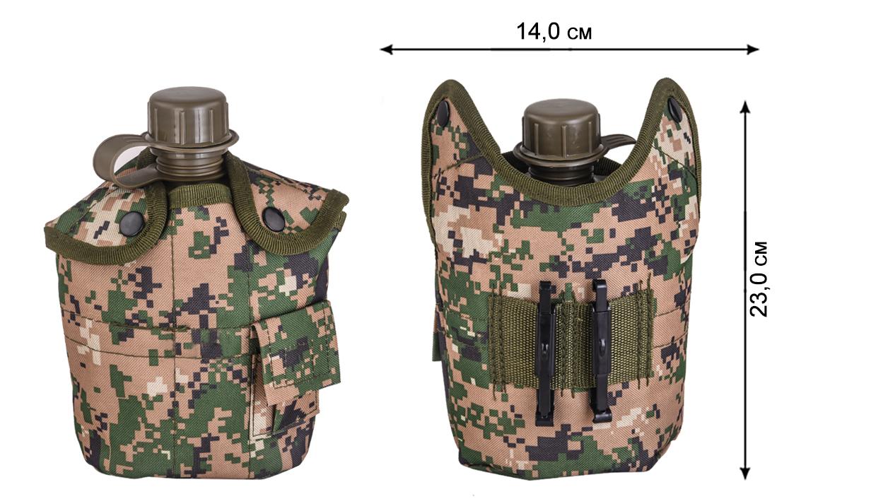 Армейская фляга с кружкой-котелком - габариты