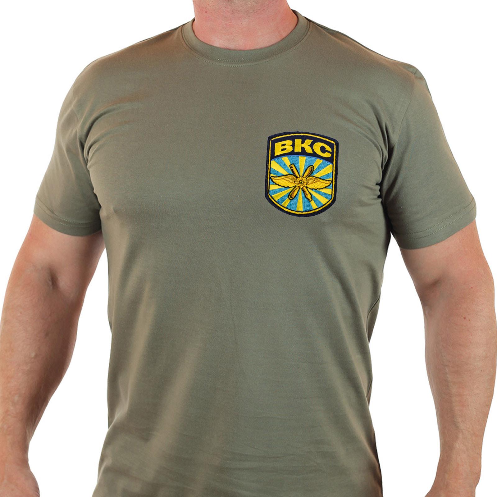 """Армейская футболка """"ВКС"""" с вышитой нашивкой."""