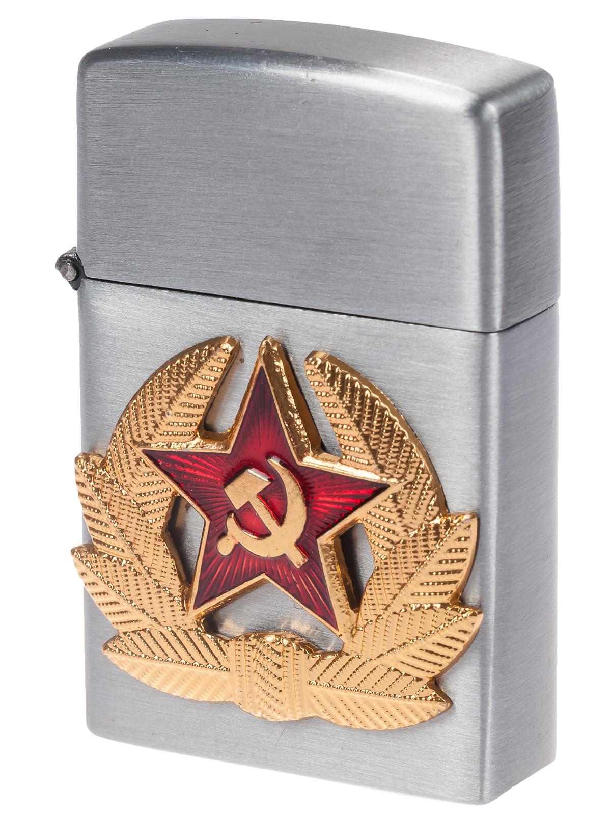 Армейская зажигалка с кокардой СА (газовая Zippo) по низкой цене оптом и в розницу